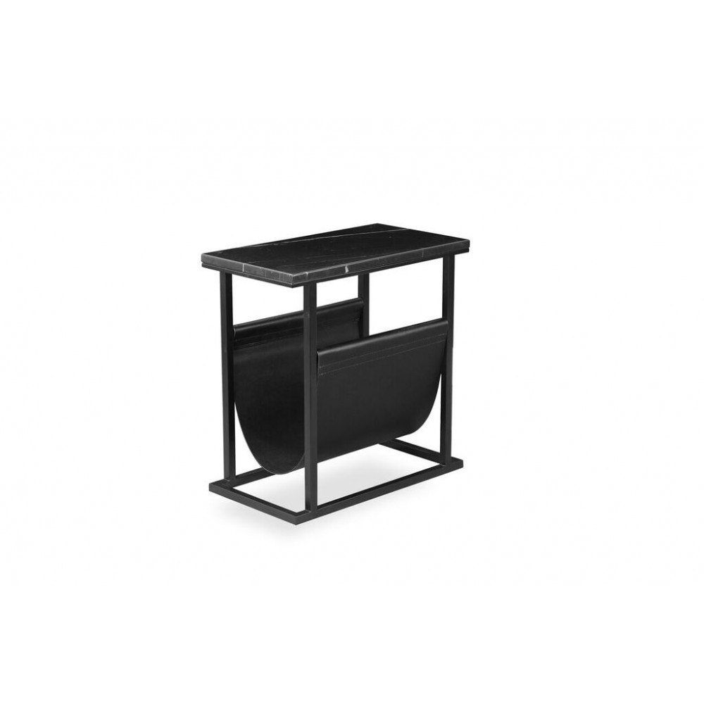 Mobital Onix Magazine Rack Black Nero Marquina Marble Black Leather Sling With Black Powder Coated Steel Home Furniture And Patio
