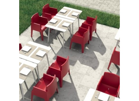 Box Resin Outdoor Dining Arm Chair - Red