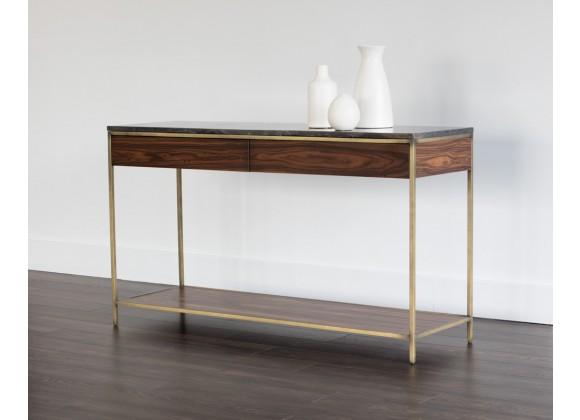 Sunpan Stamos Console Table - Gold - Zebra Brown - Lifestyle