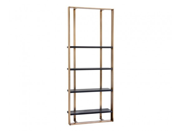 Sunpan Dalton Bookcase - Antique Brass - Black