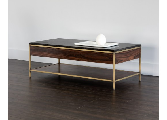 Stamos Coffee Table - Gold - Zebra Brown - Angled