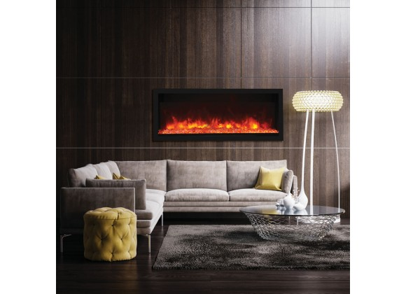 "55"" Tall Indoor Or Outdoor Electric Built-in Only With Black Steel Surround Fireplace - Lifestyle 1"