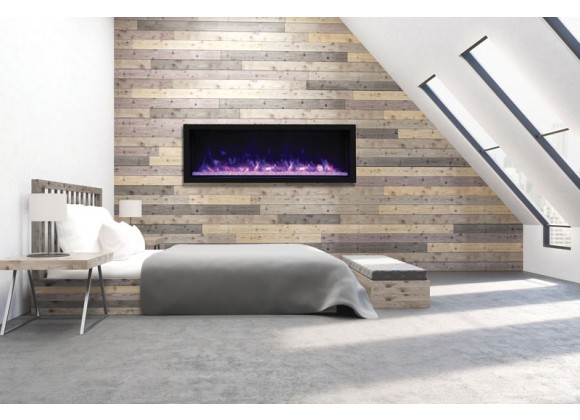 """65"""" Tall Indoor Or Outdoor Electric Built-in Only With Black Steel Surround Fireplace - Lifestyle 1"""
