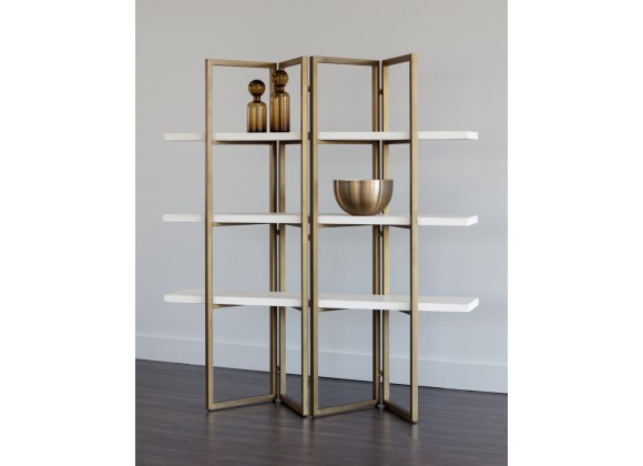 Sunpan Halston Bookcase - Antique Brass - White - Lifestyle