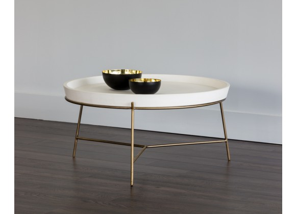 Remy Coffee Table - Antique Brass - Ivory - Lifestyle