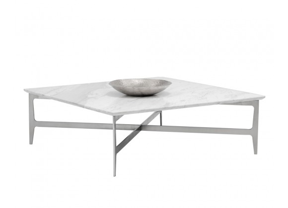 Sunpan Clearwater Coffee Table - Square - Angled with Decor
