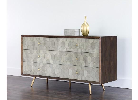 Aniston Dresser - Dark Mango - Shagreen Leather - Angled Lifestyle