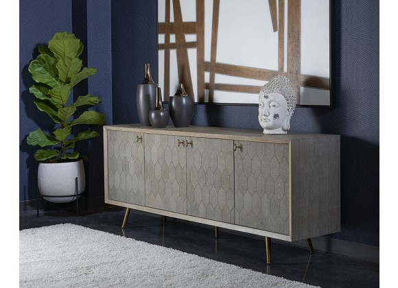 Sunpan Aniston Sideboard - Large In White Ceruze - Shagreen Leather - Lifestyle
