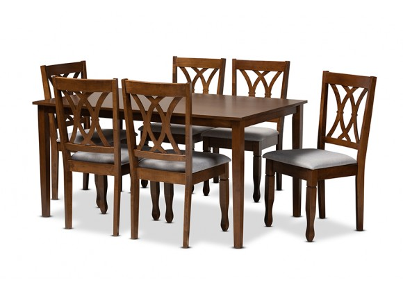 Augustine Modern and Contemporary Grey Fabric Upholstered and Walnut Brown Finished Wood 7-Piece Dining Set - White BG