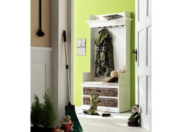 Nova Solo HALIFAX Hallway Wardrobe Bench with Cushion and 2 Rattan Baskets