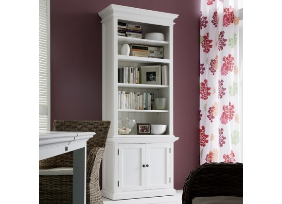 Nova Solo HALIFAX Single Tower Hutch Bookcase w/ 5 Open Shelves & Double Door