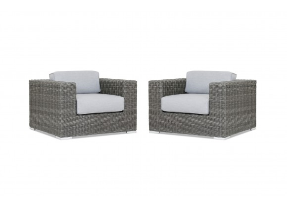 Emerald II Wicker Club Chair With Cushions In Canvas Granite With Self Welt - Set of 2
