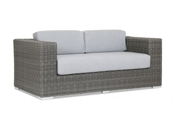 Emerald II Wicker Loveseat With Cushions In Canvas Granite With Self Welt