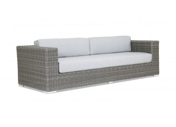Emerald II Wicker Sofa With Cushions In Canvas Granite With Self Welt