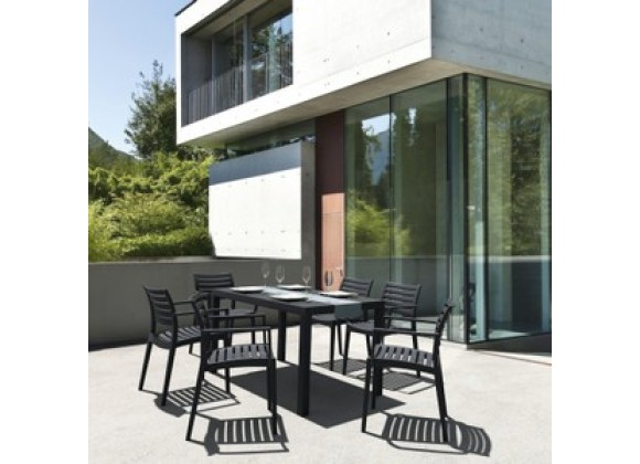 Artemis Resin Rectangle Dining Set with 6 arm chairs Dark Gray
