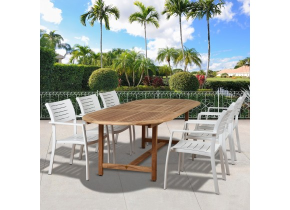 Amazonia Noordam 7 Piece Teak Oval Patio Dining Set - Lifestyle