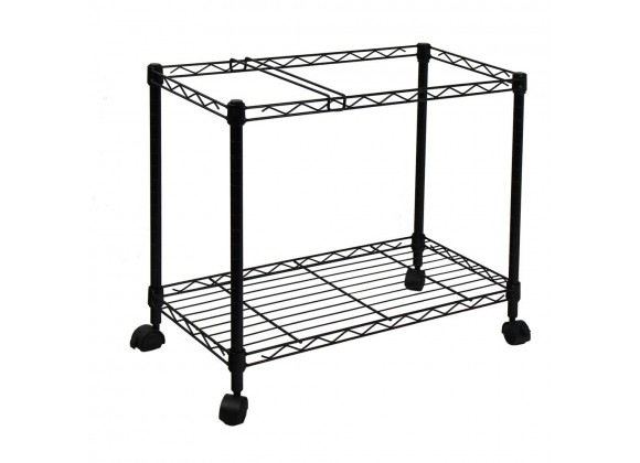 Oceanstar Portable 1-Tier Metal Rolling File Cart (Black) - Angled