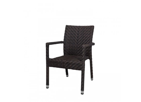 Miami Dining Arm Chair - Espresso Wicker - Angled