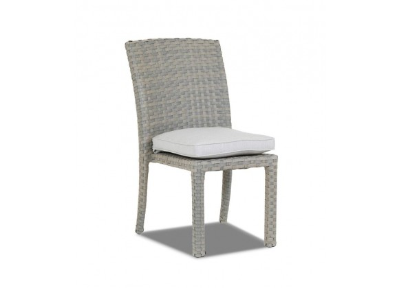 Majorca Armless Dining Chair with Cushions in Cast Silver