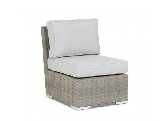 Majorca Armless Club Chair with Cushions in Cast Silver