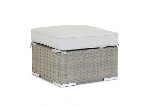 Majorca Ottoman with Cushion in Cast Silver