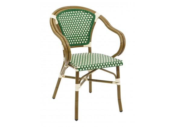 Hand Painted Aluminum Frame Arm Chair W/ PE Weave And Binding Back And Seat - Green