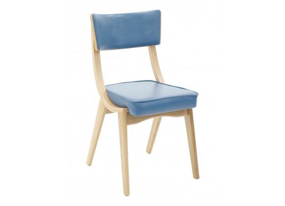 European Beechwood Wood Dining Chair - Blue - Front