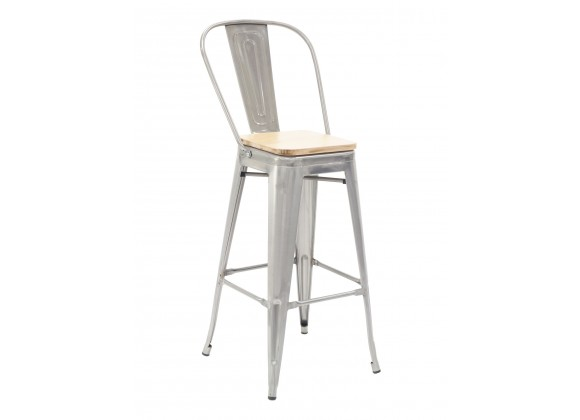 Industrial Barstool - Clearcoat & Solid Colors - White Seat plate