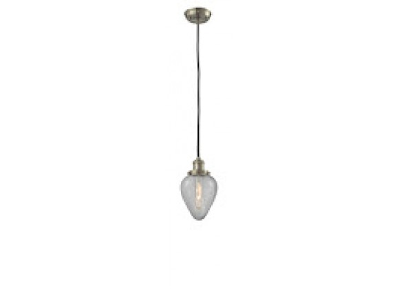 Glass Pendant With 10 Feet Cord - Satin Brushed Nickel - CLEAR CRACKEL GLASS