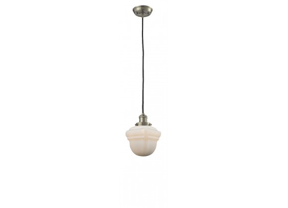 Glass Pendant With 10 Feet Cord - Satin Brushed Nickel - WHITE GLASS