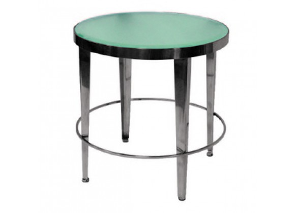 Allan Copley Designs Sarah Round End Table with Frosted Glass Top
