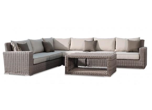 Sunset West Coronado Wicker Sectional With Cushions . - white BG