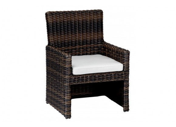 Montecito Dining Chair With Cushions In Canvas Cork With Canvas Bay Brown Welt