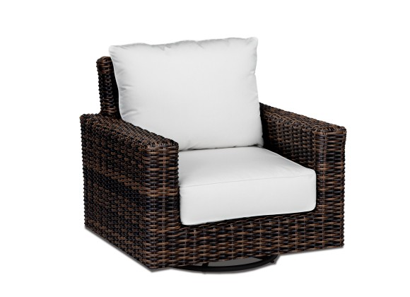 Montecito Wicker Swivel Rocker Club Chair With Cushions - White BG