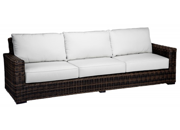 Montecito Wicker Sofa With Cushions In Canvas Cork With Canvas Bay Brown Welt