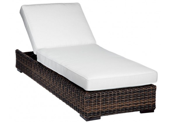 Montecito Wicker Adjustable Chaise With Cushions In Canvas Cork With Canvas Bay Brown Welt