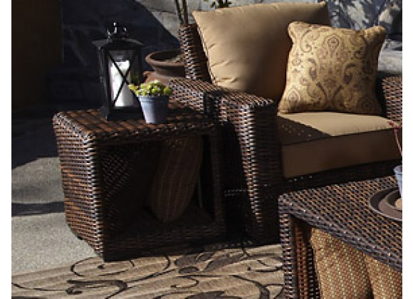 Sunset West Montecito Wicker End Table - Lifestyle Photo