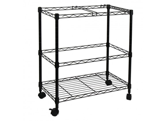 Oceanstar Portable 2-Tier Metal Rolling File Cart - (Black) - Angled