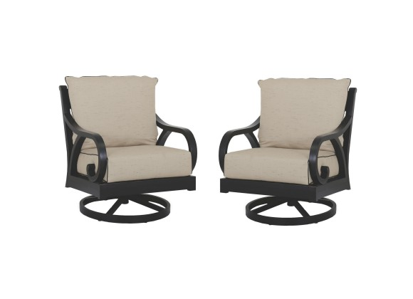 Monterey Wicker Swivel Rocker With Cushions - In Set