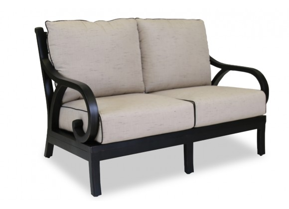 Monterey Wicker Loveseat With Cushions In Frequency Sand With Canvas Walnut Welt