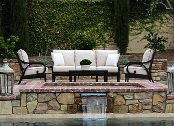 Sunset West Aluminum Monterey Sofa with Club Chairs and Coffee Table