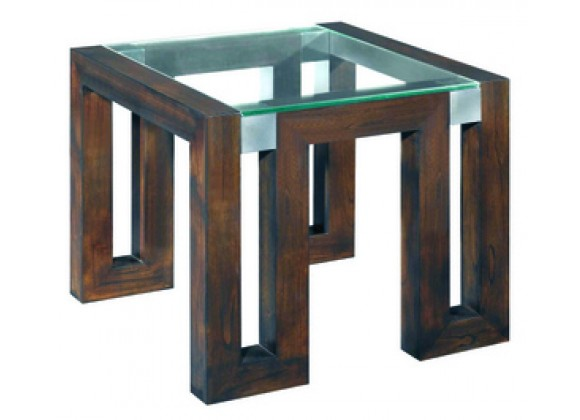 Allan Copley Designs Calligraphy Square Glass Top End Table