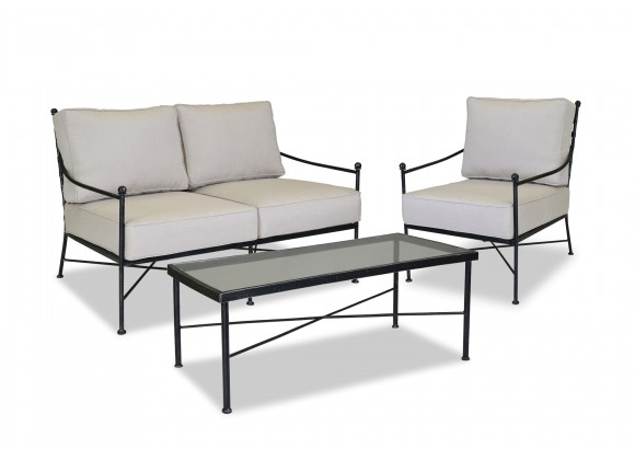 Provence Aluminum Loveseat With Cushions - With Set