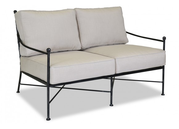 Sunset West Provence Aluminum Loveseat With Cushions In Canvas Flax With Self Welt