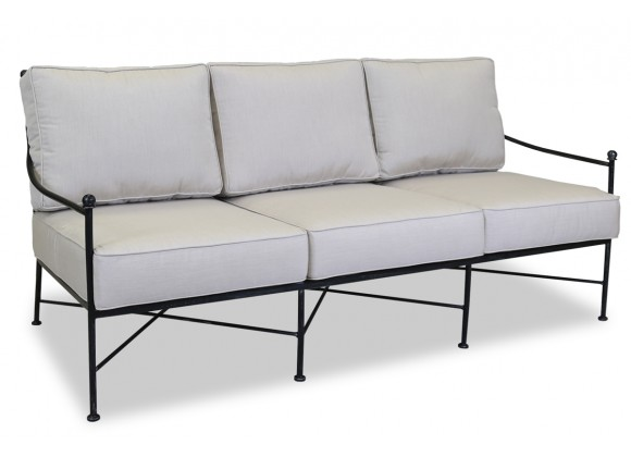 Sunset West Provence Aluminum Sofa With Cushions In Canvas Flax With Self Welt
