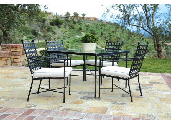 Sunset West Provence Aluminum Dining Chairs with Dining Table - Lifestyle