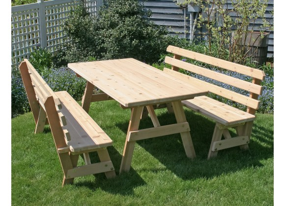 "Red Cedar 27"" Wide Classic Family Picnic Table"