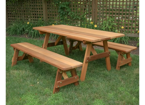 """Red Cedar 27"""" Wide Classic Family Picnic Table with"""