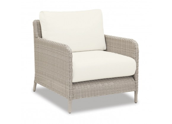 Manhattan Wicker Club Chair With Cushions In Linen Canvas With Self Welt