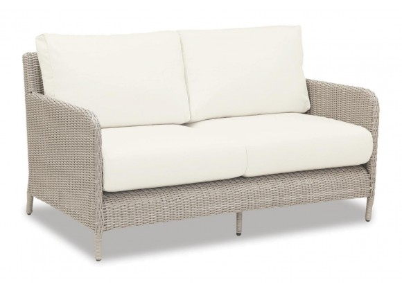 Manhattan Wicker Loveseat With Cushions In Linen Canvas With Self Welt
